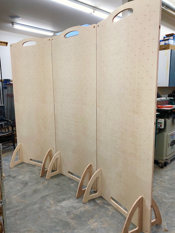 Three plywood free standing panels for displaying artwork or crafts